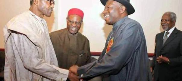 FILE PHOTO: President Goodluck Jonathan and General Muhammadu Buhari shaking hands at the 2015 Elections Sensitization Workshop on Non-Violence in Abuja today, organized by the Office of the National Security Adviser and SA to Mr. President on inter-party affairs.