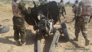 An artillery piece recovered from Boko Haram terrorists