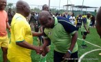 Former President Olusegun Obasanjo exhibiting soccer skills to celebrate 78th birthday