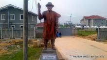 A statue of Goodluck Jonathan stands at the entrance to his Otuoke residence.
