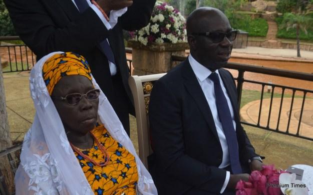 Mother of the groom, Hajia Aishetu Oshiomhole and Mr Godwin Obaseki, Chairman, Edo State Economic Team at the Wedding Registry.