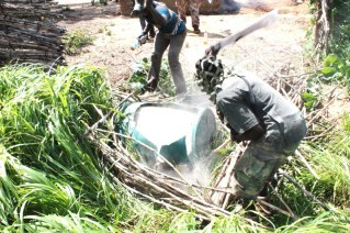 The Nigerian army clearing to access hidden materials