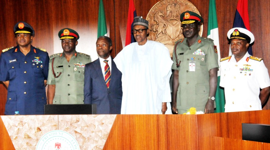 From Left: Chief Of The Air Staff, Air-Marshal Sadique Abubarkar;  Chief Of Defence  Staff,  Gen. Abayomi Gabriel Olonisakin;  Vice President Yemi Osinbajo; President Muhammadu Buhari; Chief Of Army Staff, Lt-Gen. Tukur  Buratai And  Chief Of Naval  Staff, Vice-Admiral Ibok Ete Ekwe  Ibas, At The Decoration Of Service Chiefs At The Presidential Villa In Abuja On Thursday (13/8/15). NAN