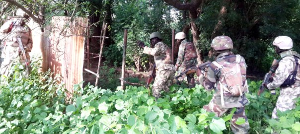 FILE PHOTO: Nigerian Army troops clearing Boko Haram enclaves along Bitta to Tokumbere, Sambisa Forest, Borno state