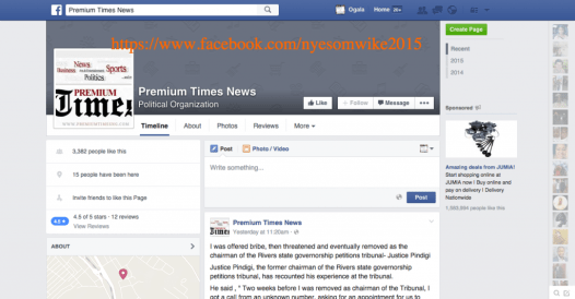 The fake Premium Times News Facebook page