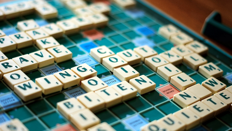 Scrabble game in progress