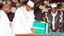 President Muhammadu Buhari presenting the 2016 appropriation bill to the National Assembly