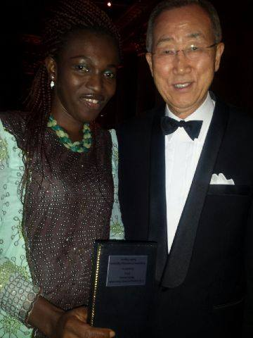 Tina Armstrong with the UN Scribe, Ban Ki-Moon