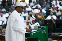 FILE PHOTO: President Muhammadu Buhari presenting the Budget to the National Assembly