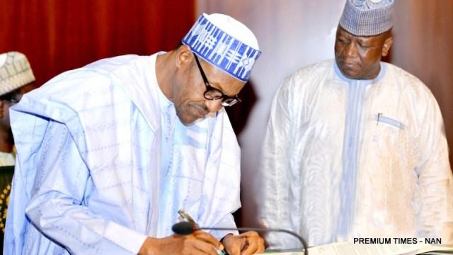 PIC. 28. PRESIDENT BUHARI SIGNS NIGERIA'S COMMITMENT TO ERADICATE POLIO IN ABUJA
