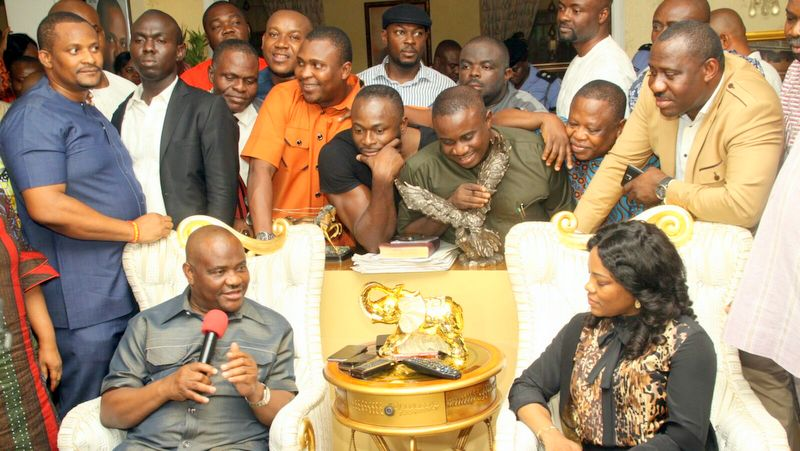 Governor Nyesom Wike celebrating with his supporters