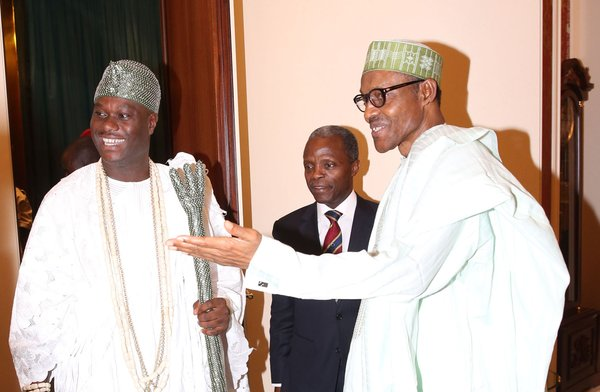 FROM LEFT: The Ooni of Ife, Oba Adeyeye Ogunwusi II; Vice-President Yemi Osinbajo and President Muhammadu Buhari, during the visit of the Monarch to the Presidential Villa today