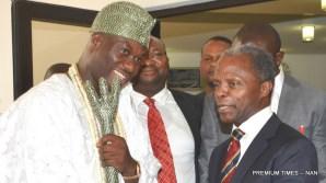 Vice President Yemi Osinbajo (R), welcomes the Ooni of Ife, Oba Adeyeye Ogunwusi Ojaja II, to the Presidential Villa today