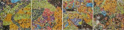 Google Maps by Gerald Chukwuma, 4 panels of 30.5 x 30