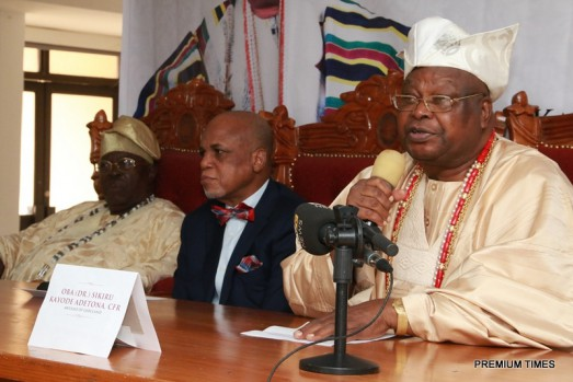 From Left: Oba Yinusa O Adekoya OON, Daburewe of Idowa; Biodun Shobanjo, Chairman, Troyka Group and Oba (Dr) Sikiru K Adetona, The Awujale of Ijebuland at the World Press Conference on the endowment of a professorial chair in governance at the Olabisi Onabanjo University held at the Oba's Palace, Ijebu-Ode, March 4, 2016