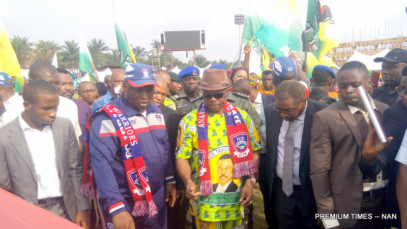 PIC 24. FROM LEFT: CHAIRMAN, FC IFEANYI UBAH, CHIEF IFEANYI UBAH; GOV WILLIE   OBIANO OF ANAMBRA AND CHIEF TONY NNACHETA, DURING THE GOVERNOR'S VISIT TO IFEANYI UBAH INTERNATIONAL STADIUM IN NNEWI ON WEDNESDAY (16/3/16).   2341/16/3/2016/PATRICK/HB/ICE/NAN