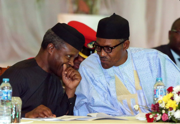 Vice President Yemi Osinbajo and President Muhammadu Buhari at the National Economic Council Retreat  PHOTO CREDIT: STATE HOUSE PHOTO