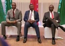 Three of the PDP Edo governorship aspirants, L-R: Iduoriyekemwen, Edebiri and Ize-Iyamu at a programme in Benin City.