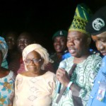 Anisulowo in middle after she was rescued and brought to Ogun State Government House. Beside her on the right is Deputy Governor Yetunde Onanuga, while on the left is Governor Ibikunle Amosun and Ogun State Commissioner of Police, Ali.
