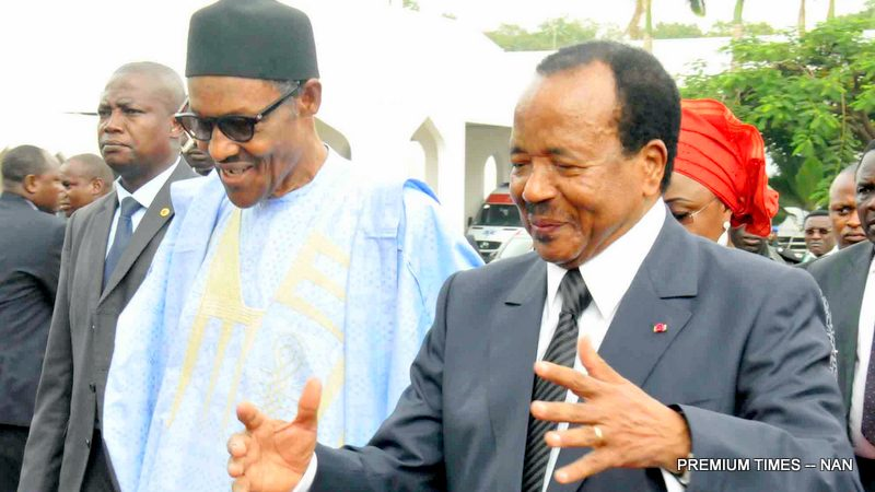 PIC. 9. PRESIDENT MUHAMMADU BUHARI (L) AND PRESIDENT PAUL BIYA OF CAMEROUN, AT THE PRESIDENTIAL VILLA IN ABUJA ON TUESDAY (3/5/16).