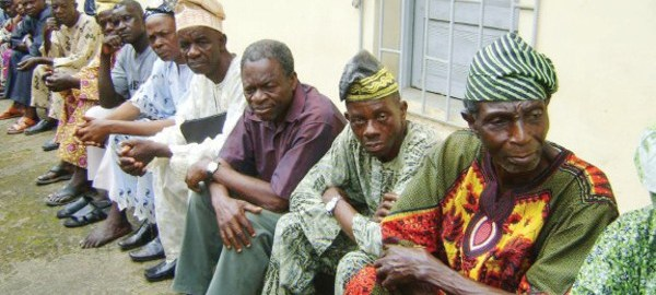 Nigerian pensioners used to illustrate the story