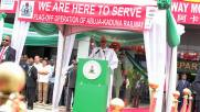 President Muhammadu Buhari speaking at the commissioning of Abuja-Kaduna train services