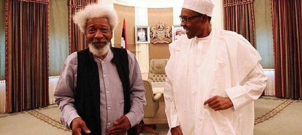 President Muhammadu Buhari and Wole Soyinka (Photo: Bayo Omoboriowo)