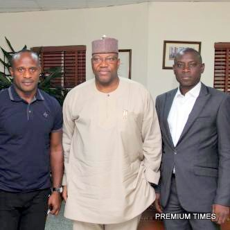 Mr. Shina Philips and Nelson Olafisoye with the Channels CEO John Mommoh