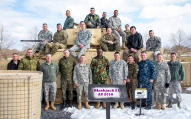 Col. Nengite with his coursemates in the U.S.