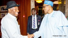 FILE PHOTO: President Muhammadu Buhari (R) welcoming Former President Goodluck Jonathan  to the  Presidential Villa today (3/8/16) 5466/03/08/2016/ICE//NAN