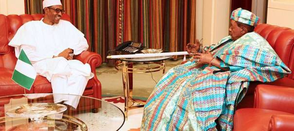President Muhammadu Buhari and Alaafin of Oyo.