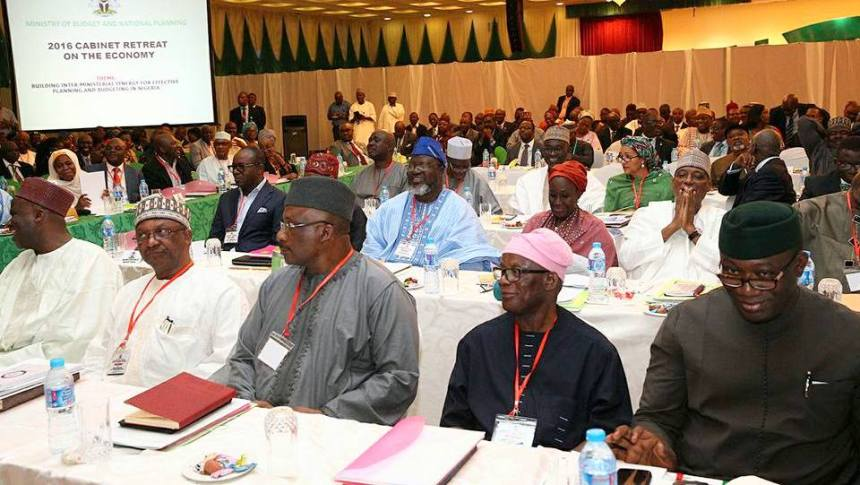 Ministers and Cabinet members at the 2016 Cabinet Retreat on the Economy with President Muhammadu Buhari