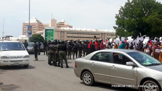 Bring Back Our Girls protesters being stopped by the Nigeria Police last week