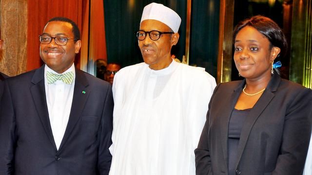President Muhammadu Buhari with Akinwunmi Adesina, President of the African Development Bank, AfDB and Minister of Finance, Kemi Adeosun