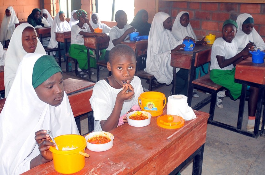PIC. 3. A CROSS-SECTION OF PUPILS OF LOCAL GOVERNMENT EDUCATION AUTHORITY PRIMARY SCHOOL, ALIYU MAKAMA AREA OF BARNAWA, DURING INAUGURATION OF FREE FEEDING PROGRAMME IN PUBLIC PRIMARY SCHOOLS, IN KADUNA MONDAY (18/1/16). 0267/18/1/2016/SP/BJO/NAN