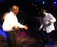 Governor Adams Oshiomhole and Mr Godwin Obaseki, Governor-elect show their dancing skills at the Victory party.