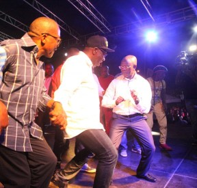 From right: Governor Adams Oshiomhole, Mr Godwin Obaseki, Governor-elect and Maj.-Gen Charles Airhiavbere show their dancing skills at the Victory party.