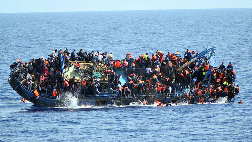 Migrant boat used to illustrate the story