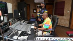 Don Jazzy and Iyanya in the studio