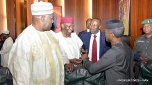 Pic.15. From left: Secretary to the Government of the Federation, Mr David Lawal; Chief of Staff, Alhaji Abba Kyari; National Security Adviser, retired Brig.-Gen. Babagana Mongulu; and Vice-President Yemi Osinbajo, during the Federal Exeutive Council Meeting at the Presidential Villa in Abuja on Wednesday (2/11/16).  8160/2/11/2016/Callistus Ewelike/BJO/NAN