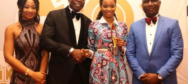 L-R: Miss Thelma Chukwu of NestOil;  Mr. Ken Egbas, Chief Executive Officer, TrueContact and organiser of SERAS CSR Awards-Africa; Ijeoma Aso, Managing Director/CEO, UBA Foundation; and Olusegun Fafore, Head, Communications, NestOil, during the 2016 SERAS CSR Awards-Africa where UBA was conferred the winner of the Best Company in CSR/sustainability West Africa in Lagos during the weekend