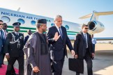 "His Excellency Vice President Prof Yemi Osinbajo SAN, GCON being welcomed by the Prime Minister Abdelmalek Sellal at the International Airport ""Houari Boumedienne"" in Algeria, 13th Dec 2016. Photo by: Novo Isioro."