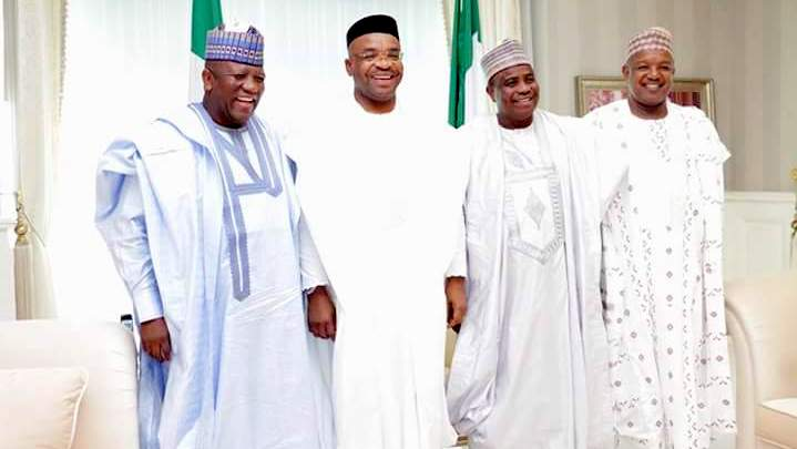 L-R: Governors Abdulaziz Yari of Zamfara, Udom Emmanuel of Akwa Ibom, Aminu Waziri Tambuwal of Sokoto and Abubakar Atiku Bagudu of Kebbi during the Christmas festivities in Uyo...25/12/16