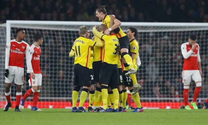 Watford's teammates celebrate after scoring during the English Premier League soccer match between Arsenal and Watford at the Emirates stadium in London, Tuesday, Jan. 31, 2017. [Photo Credit: newsday.com]