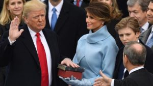 Donald Trump being sworn in as America's 45th President.