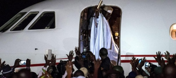 Ex-President Yahya Jammeh flies out of Banjul airport into exile (Photo Credit: www.independent.co.uk)