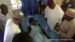 Victims of the Rann IDP camp bombing receiving treatment at the Maiduguri Specialist hospital