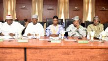 FILE PHOTO: In Kaduna, for a secure north: Governors Abdullahi Ganduje (Kano), Atiku Bagudu ( Kebbi), Nasir El-Rufai (Kaduna), Kassim Shettima (Borno) and Aminu Bello Masari (Katsina) at a joint meeting of the Northern State Governors' Forum and the Chairmen of the Council of Chiefs of the northern states on Monday, 23rd January 2017