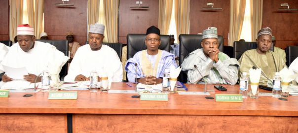 In Kaduna, for a secure north: Governors Abdullahi Ganduje (Kano), Atiku Bagudu ( Kebbi), Nasir El-Rufai (Kaduna), Kassim Shettima (Borno) and Aminu Bello Masari (Katsina) at a joint meeting of the Northern State Governors' Forum and the Chairmen of the Council of Chiefs of the northern states on Monday, 23rd January 2017