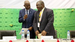 Hon. Minister of Power, Works & Housing, Mr Babatunde Fashola, SAN (left) and Director, Information and Control Centre of the West African Power Pool (WAPP) , Mr. Babatunde Adeyemo (right) during the Forum on Electricity Market Development in West Africa organized by WAPP at the Palais des Congres, Cotonou, Benin Republic on Monday 16th, January 2017.